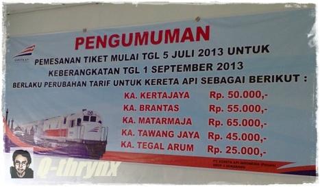 pengumuman perubahan harga tiket kereta api. perlu dibaca nih :)