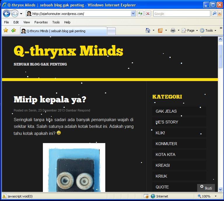 Q-thrynx minds dibuka dengan internet explorer